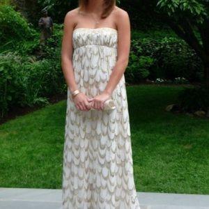 Aidan Mattox ivory gold maxi dress